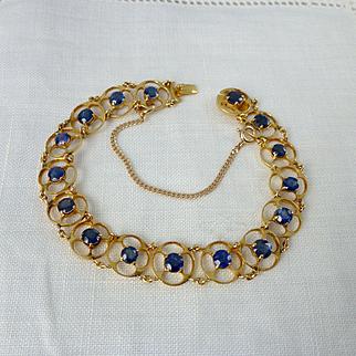 A Vintage Fine Natural 5.44 Carat Blue Sapphire Bracelet in 18kt Yellow Gold - Tressa