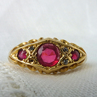 An Antique Victorian Paste Ruby and Diamond Ring in 18kt Yellow Gold - Mercy