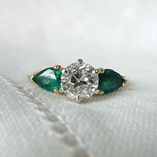A .99 Carat Old Cut Diamond and Pear Shaped Emerald Engagement Ring in 14kt Yellow Gold - Ivy