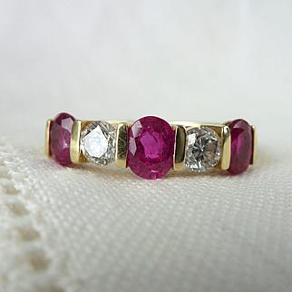 A Fine Vintage Ruby and Diamond 18kt Gold Wedding Eternity Band Ring - Tatiana
