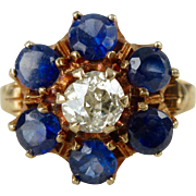 An Antique Diamond and Synthetic Sapphire 10kt Yellow Gold Ring - Bertha