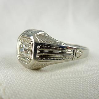 An Art Deco Old Cut Diamond Men's Wedding 18kt White Gold Detailed Ring - Thomas