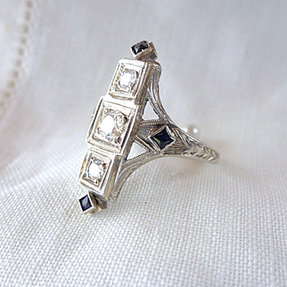 An Antique Edwardian Old Cut Diamond and Blue Sapphire Ring in 20kt White Gold - Cornelia