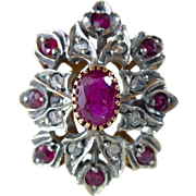 An Antique, Late Georgian, 14kt Gold and Sterling, Ruby and Diamond Ring - Rosamond