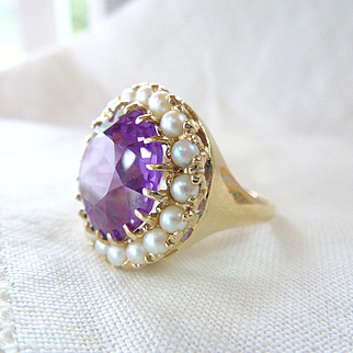 A Vintage Color Change Sapphire with a Halo of Cultured Pearls in 10kt Yellow Gold Ring - Deidre