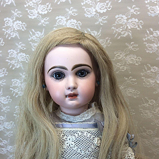 Beautiful Extra Long Vintage French Human Hair Wig for Bisque Doll
