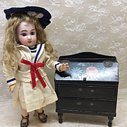 Small Antique Secretaire or Desk for Bleuette or other Small Bebe Bisque Doll
