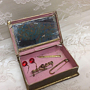 Antique Doll Jewelry in Glass topped Box Rolled Gold Pin French or German Bisque