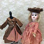 "Petite Antique French Etienne Denamur E4D 12"" Doll in Winter Ensemble Jumeau Early Body"