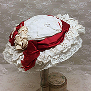 Antique French Jumeau lace trimmed Hat for Bebe Bisque Doll