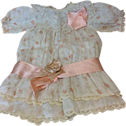 """Gorgeous Antique Bebe Dress """" pêches n crème"""" Muslin Lined Bisque Doll"""