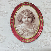 Antique Victorian Embossed Label Little Girl Doll Display