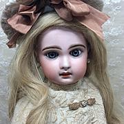 """Antique Tete Jumeau Sz 9 Excellent! French Bisque Doll 22"""""""
