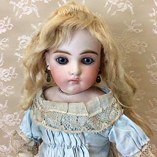 "Antique Blonde Mohair Wig 8""  for French or German Bisque doll"