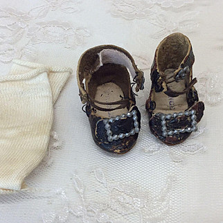Tiny Marked French Shoes & Socks Jumeau or other