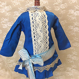 "Beautiful Sapphire Blue Dress for 19-21"" French Doll"