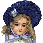 Royal Blue Velvet Bonnet for Large French German Bisque Doll