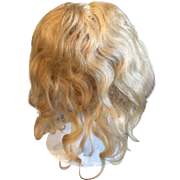 """Antique 10"""" French Human Hair Blonde Wig French or German Bisque Doll"""