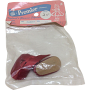 """Vintage 1950's Red Satin Shoes In Package Ginny Muffie Alexander 8"""" Doll"""