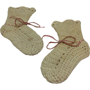 Early Hand Knit Wool Booties For Antique Bisque or Composition Baby Doll