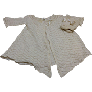 Beautiful Vintage Knit Sweater & Booties for Large Bisque or Composition Baby Doll