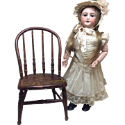 Antique Wooden Doll Size Chair For French German Bisque