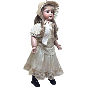 """24"""" French Bebe in Fabulous Silk Ensemble with Vintage Human Hair Wig"""