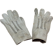 """Small Antique 4"""" Leather gloves for French or German Bisque Doll"""