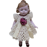 All Bisque German Doll House Doll with Dress