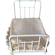 Miniature Doll House Metal Framed Bed