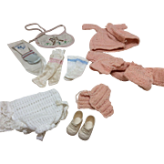 Vintage 1950's Baby Doll Items Socks Knitted Pieces Shoes Bib