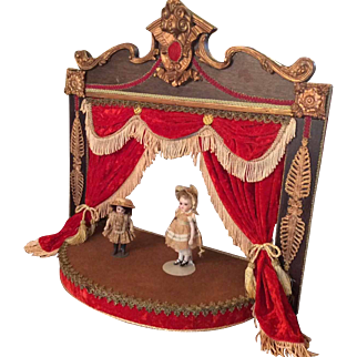 Hand Made Wooden Vinatge Stage Theatre Rococco Style Small Bisque Doll Display