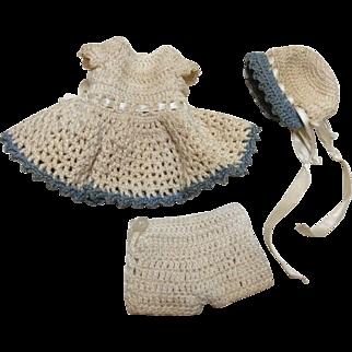Vintage Crochet Dress Set for All Bisque Doll House or Mignonette