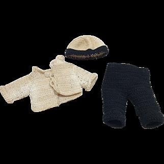 Vintage Crochet Boy or Girl 3 Pc set All Bisque Doll House Mignonette