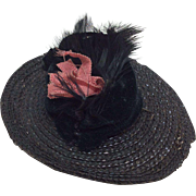 Small Bkack Hat with Feathers and Ribbon All Bisque Doll or Mignonette