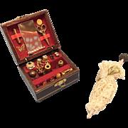 Vintage Doll House Miniatures Dressing Box & Parasol Bisque Mignonette
