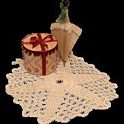 Vintage Miniature Bisque Doll House Hatbox Parasol Rug