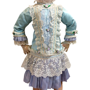 Beautiful Dropped Waist Elaborate Dress for French or German Bisque doll