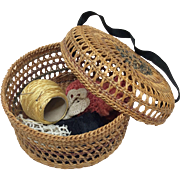 Antique Woven Sewing Basket for Bisque French Fashion or Mama Doll
