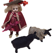 Two Artist Made Sheep for Mignonette or Small Bisque Doll Display