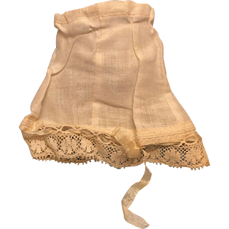 Antique Drawstring Slip for Small French Bisque Doll