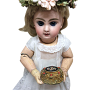 Stunning Antique Tiny Italian Box for French Bisque Fashion Doll