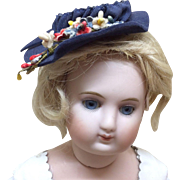 Small Vintage Hat with Flowers for French Fashion or other Bisque Doll