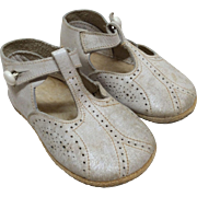 """Vintage 4"""" White Leather Shoes for Larger Bisque Doll"""
