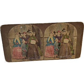 Pretty Old Victorian Stereograph Card for Doll Display