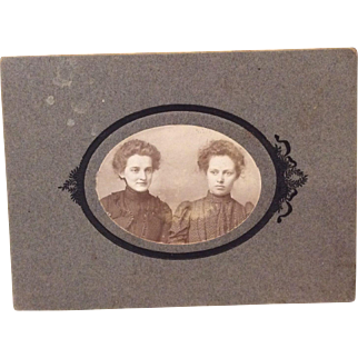 Antique Photo Two Victorian Women for Bisque Doll Display