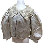 Antique Silk Pinstripe Blouse or Jacket for French Fashion Bebe Bisque Doll