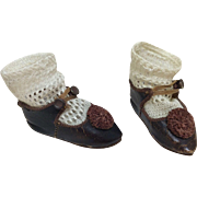 Antique Original Sz 6 Marked Depose Jumeau Shoes & Socks
