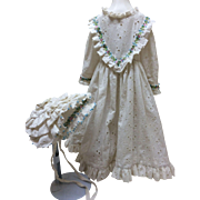 Vintage Eyelet 2 Pc Dress & Bonnet For French or German Bisque doll