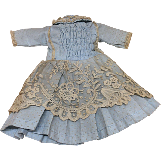 French Style Blue Dropped Waist Dress for Jumeau or other Bisque Doll
